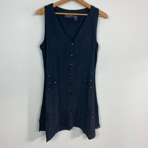First Vision M Black Button Down Tunic Top Mirrors